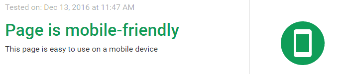 google mobile friendly test passed