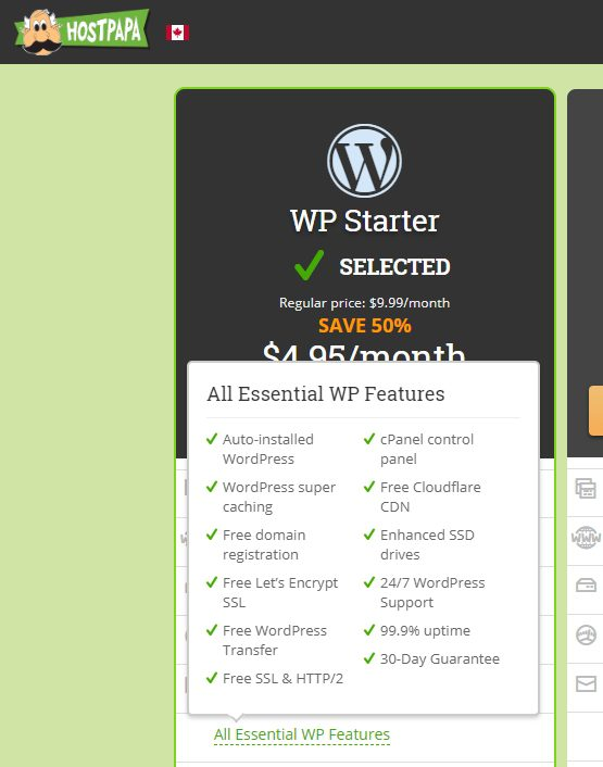 2020 HostPapa Essential Features snapshot for hosting WordPress
