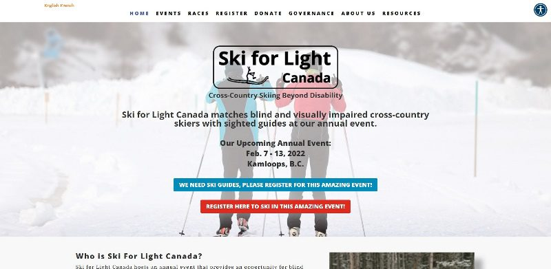 Screenshot of skiforlight.ca website
